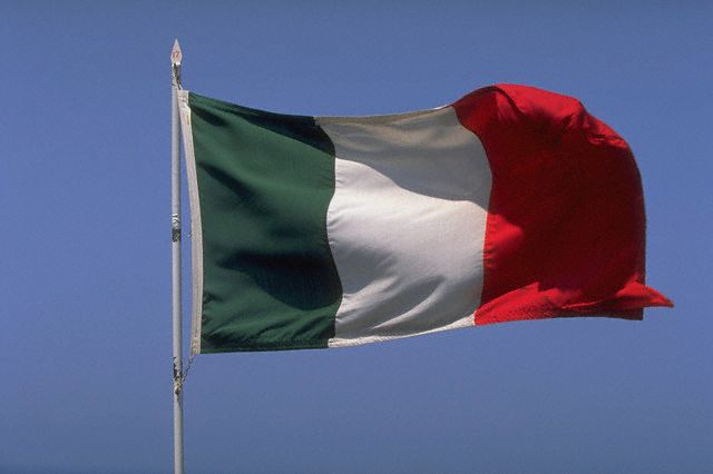 Italian Flag Flapping in the Wind